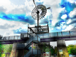 Windrad im Landschaftspark Duisburg / verfremdet