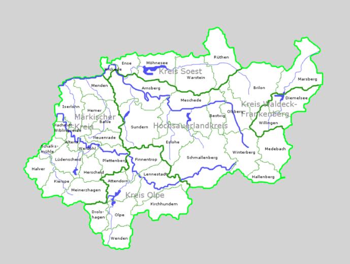 Sauerland - politische Übersichtskarte der Region Sauerland (Quelle:Wikipedia)