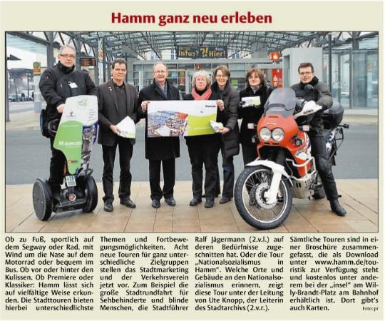Stadtanzeiger Hamm 2. März 2011 - Vorstellung Proigrammheft Stadttouren